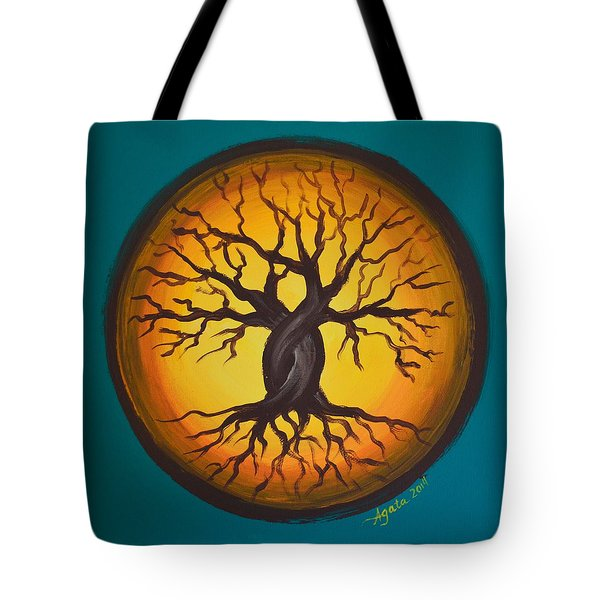 Tote Bag featuring the painting Orange Moon by Agata Lindquist