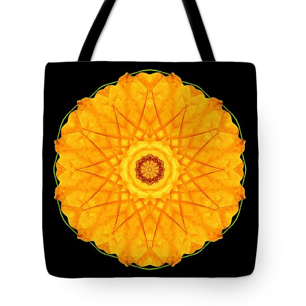 Orange Nasturtium Flower Mandala Tote Bag by David J Bookbinder