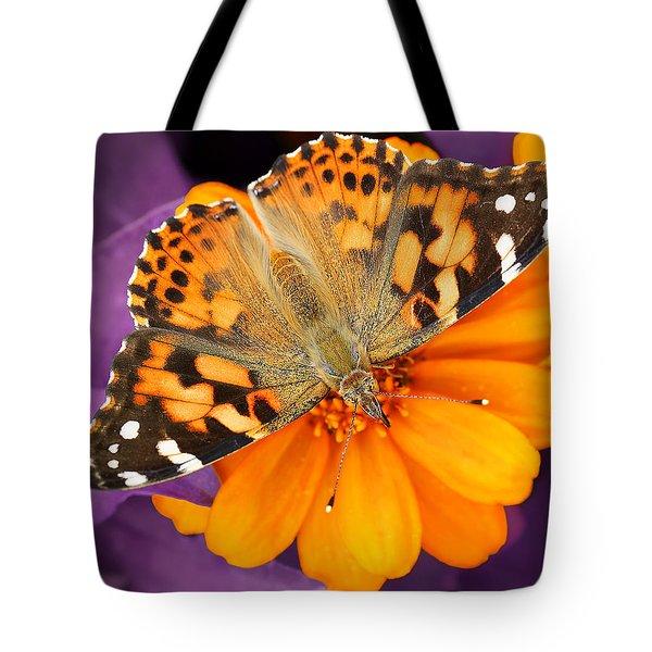 Orange On Purple Tote Bag