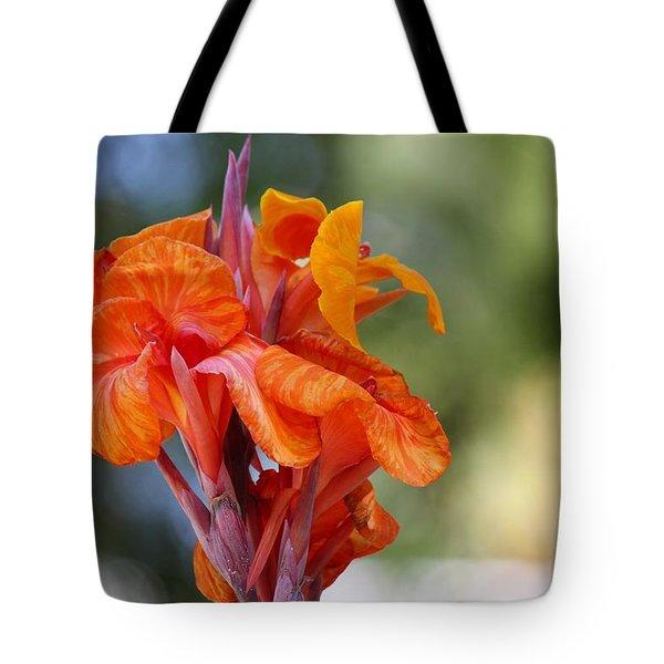 Orange Ruffled Beauty Tote Bag