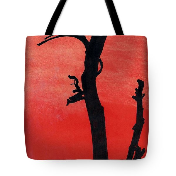 Tote Bag featuring the drawing Orange Sunset Silhouette Tree by D Hackett