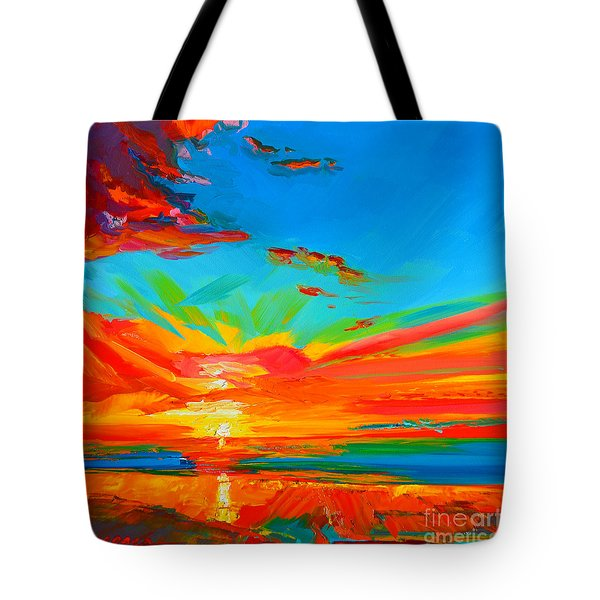 Orange Sunset Landscape Tote Bag