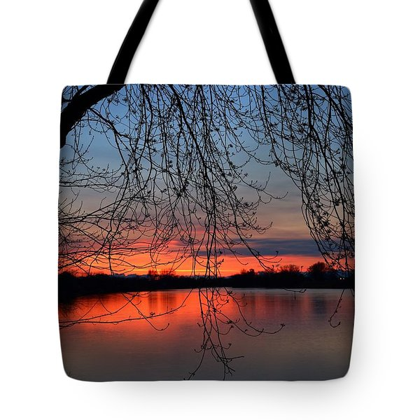 Tote Bag featuring the photograph Orange Sunset by Lynn Hopwood