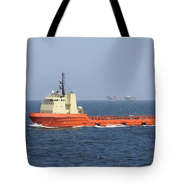 Orange Supply Vessel Underway Tote Bag