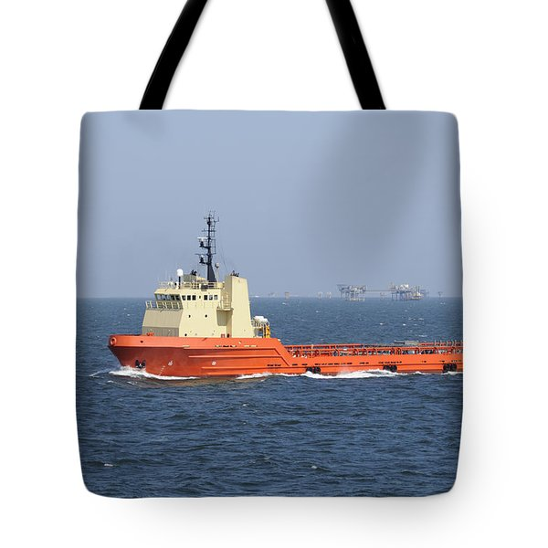 Orange Supply Vessel Underway Tote Bag