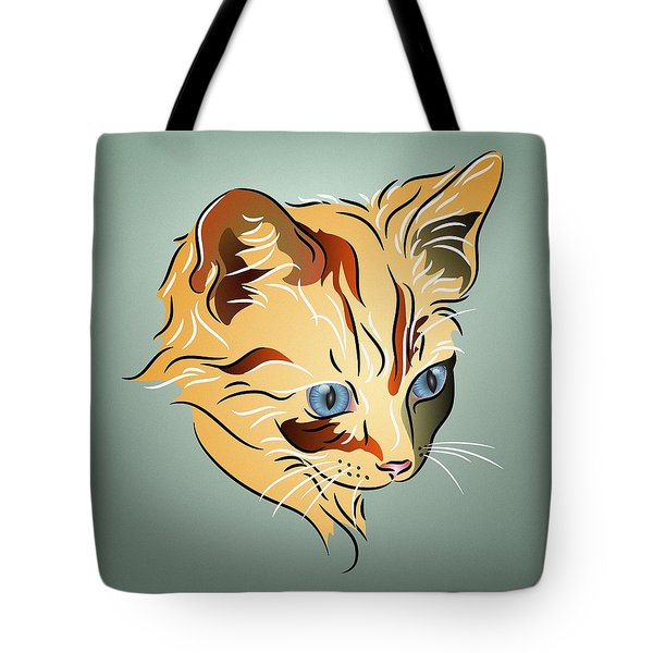 Tote Bag featuring the digital art Orange Tabby Kitten by MM Anderson