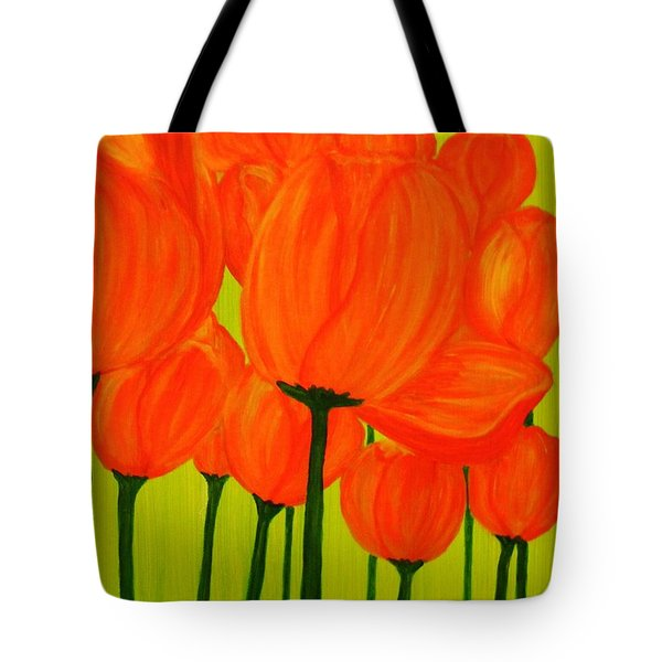 Orange Tulip Pops Tote Bag