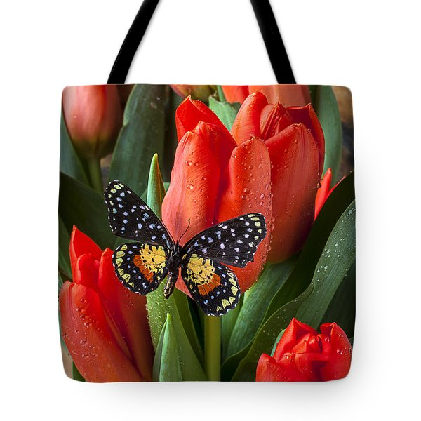 Orange Tulips And Butterfly Tote Bag by Garry Gay