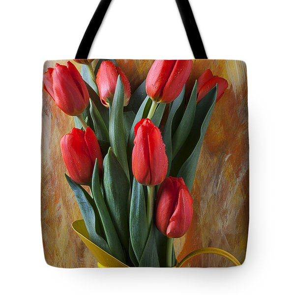 Orange Tulips In Yellow Pitcher Tote Bag by Garry Gay
