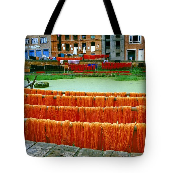 Orange Yarn Tote Bag