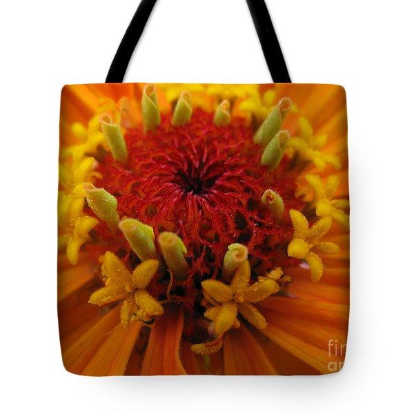 Orange Zinnia. Up Close And Personal Tote Bag by Ausra Huntington nee Paulauskaite
