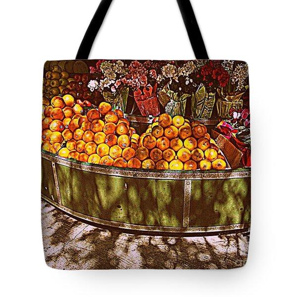 Oranges And Flowers Tote Bag by Miriam Danar