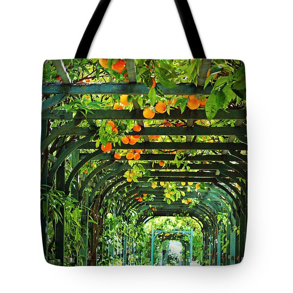Tote Bag featuring the photograph Oranges And Lemons On A Green Trellis by Brooke T Ryan