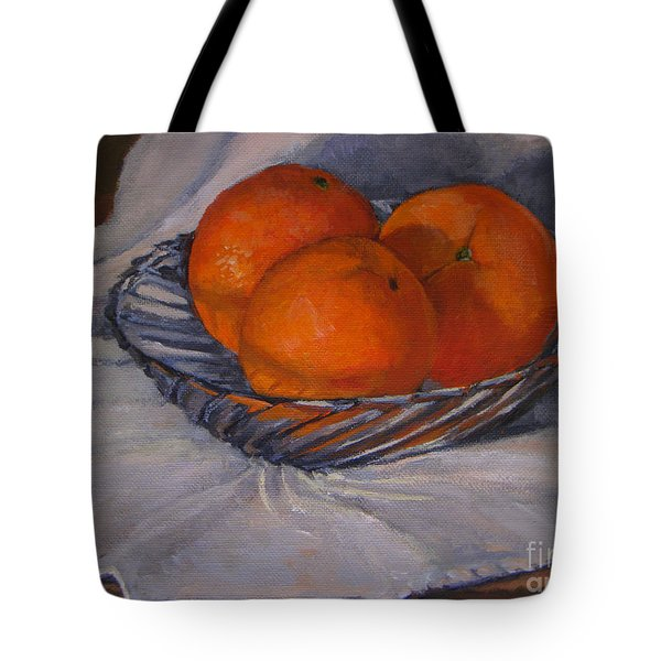Oranges In A Swirly Bowl Tote Bag