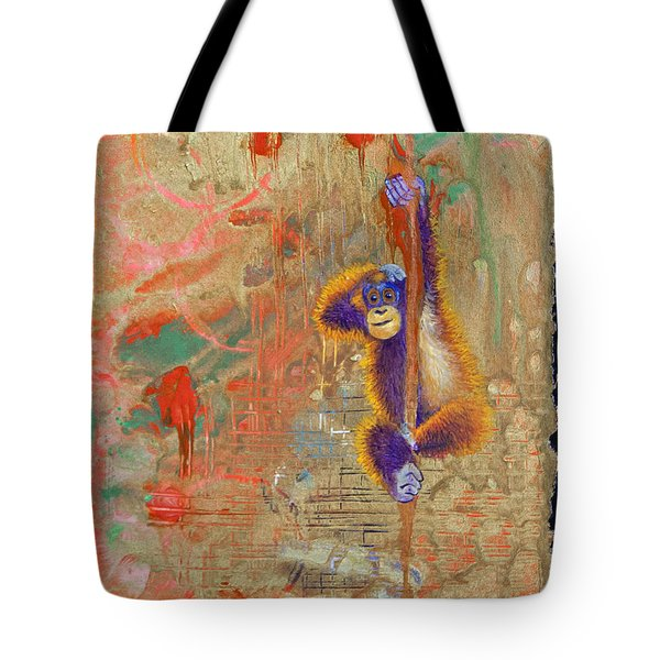 Orangutan Abstract Tote Bag by Tracy L Teeter