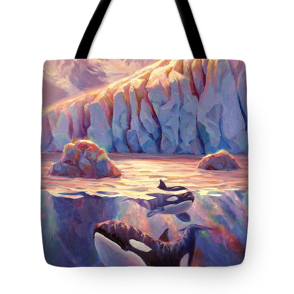 Orca Sunrise At The Glacier Tote Bag