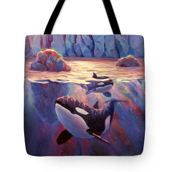Orca Sunrise At The Glacier Tote Bag by Karen Whitworth