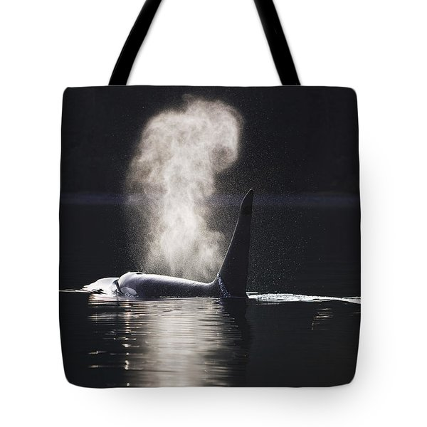 Orca Whale Surfaces Along A Forested Tote Bag by John Hyde
