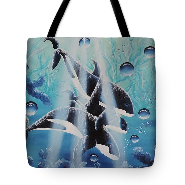 Tote Bag featuring the painting Orcan Family by Dianna Lewis