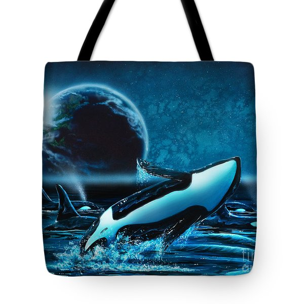 Orcas At Night Tote Bag