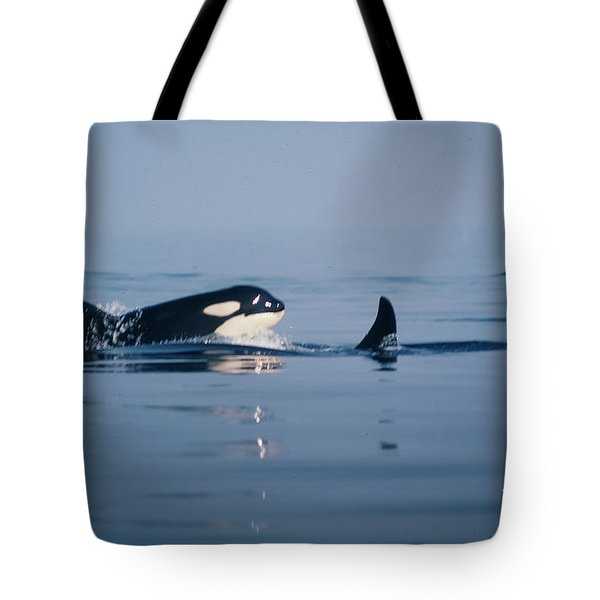 Tote Bag featuring the photograph Orcas Off The San Juan Islands Washington  1986 by California Views Mr Pat Hathaway Archives