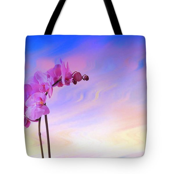 Orchid In Blue Tote Bag