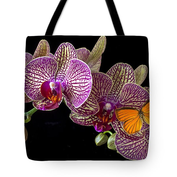 Orchid And Orange Butterfly Tote Bag