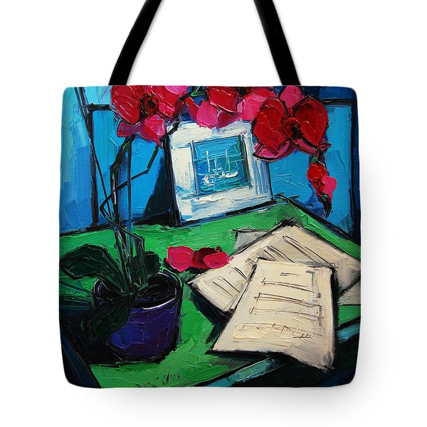 Orchid And Piano Sheets Tote Bag by Mona Edulesco