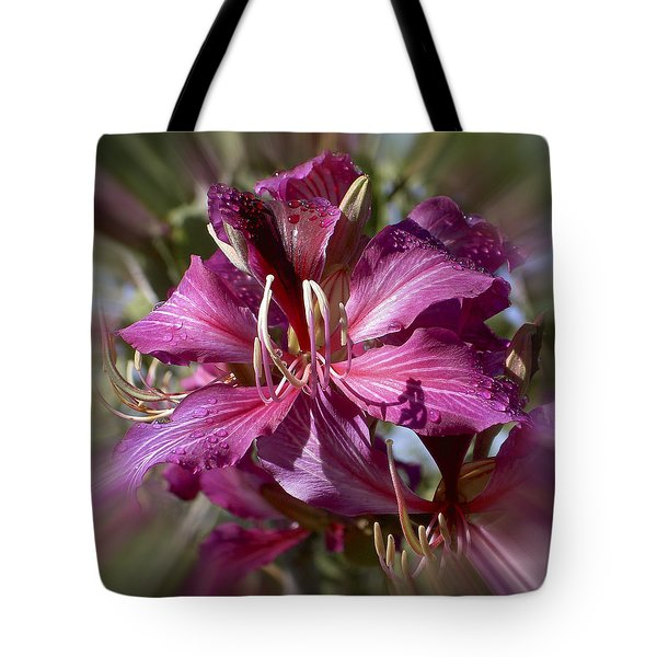 Tote Bag featuring the photograph Orchid Blur by Penny Lisowski