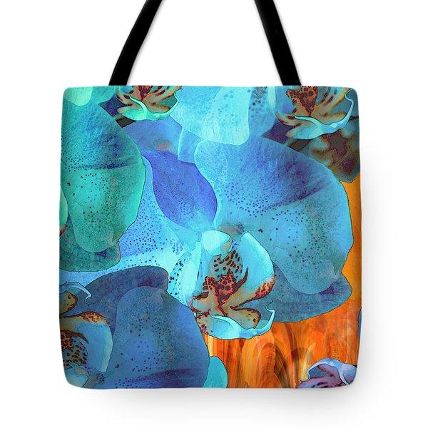 Orchid Cascade Tote Bag by Lynda Lehmann