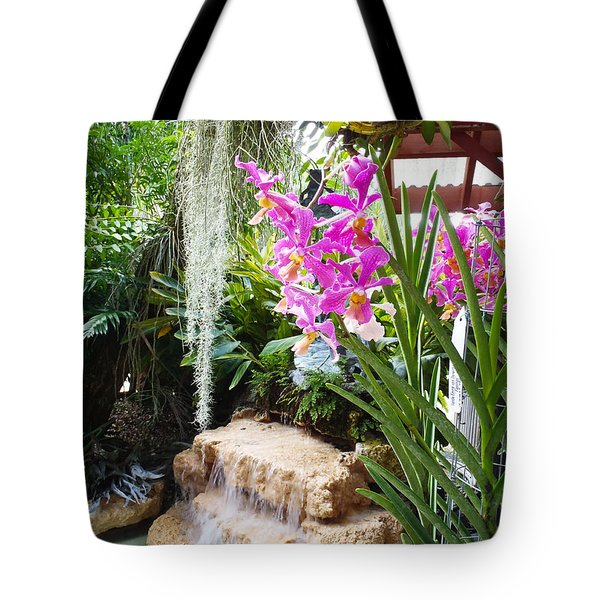 Orchid Garden Tote Bag by Carey Chen