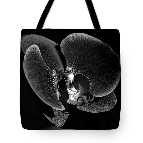 Orchid In Black And White Tote Bag by Lisa Phillips