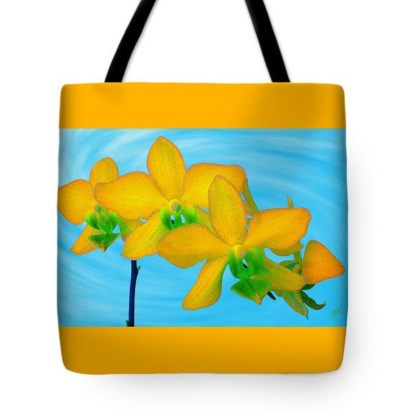 Orchid In Yellow Tote Bag