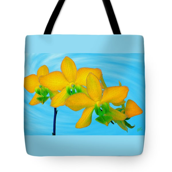 Orchid In Yellow Tote Bag by Ben and Raisa Gertsberg