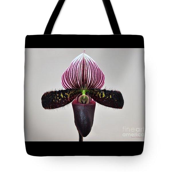 Orchid Paphiopedilum Satchel Paige X Black Beauty Tote Bag