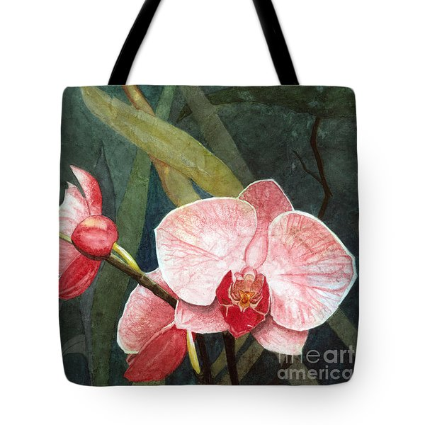 Tote Bag featuring the painting Orchid Trio 2 by Barbara Jewell