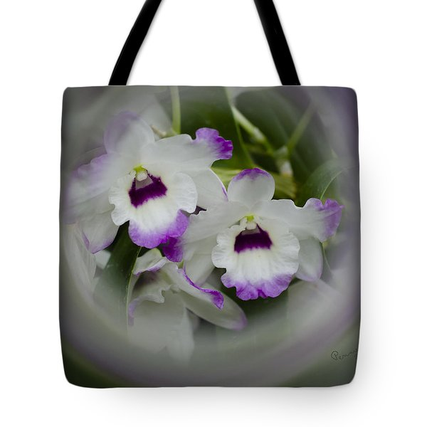 Orchid Wine Swirl Tote Bag by Penny Lisowski
