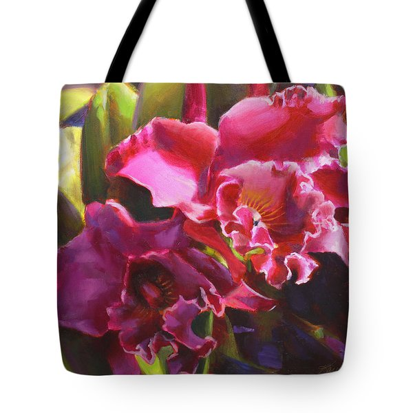 Orchids In Magenta Tote Bag by Karen Whitworth