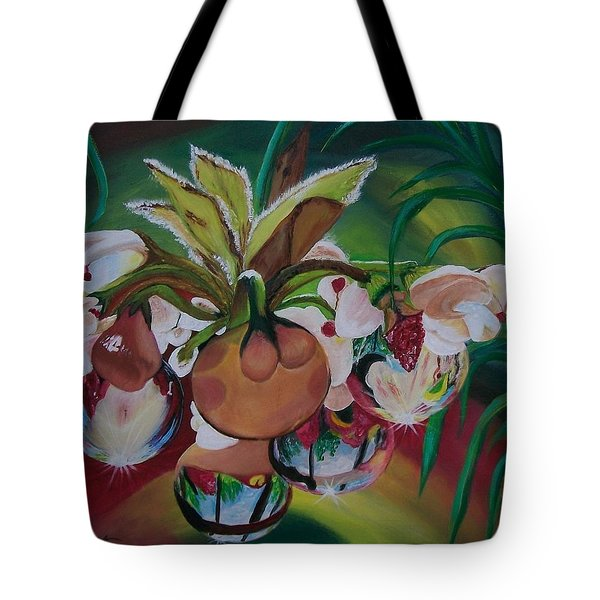 Orchids In Raindrop Reflections Tote Bag