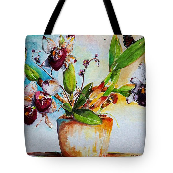 Tote Bag featuring the painting Orchids Of The Bay by Bernadette Krupa