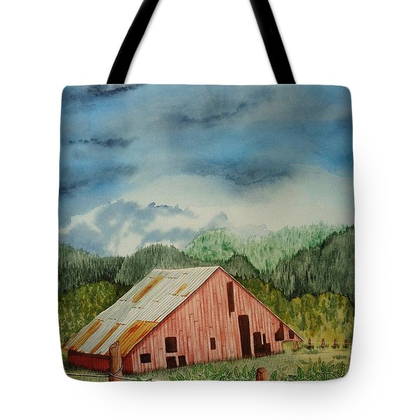 Tote Bag featuring the painting Oregon Barn by Katherine Young-Beck