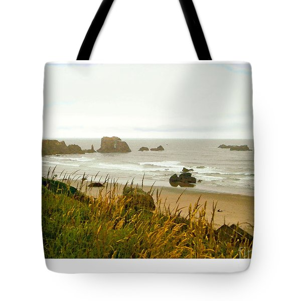 Tote Bag featuring the digital art Oregon Beach by Kenneth De Tore