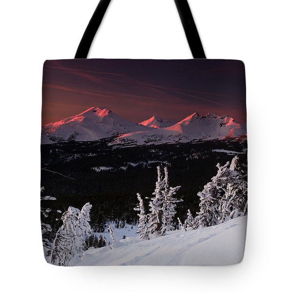 Tote Bag featuring the photograph Oregon Cascades Winter Sunset by Kevin Desrosiers