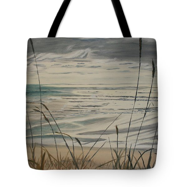 Tote Bag featuring the painting Oregon Coast With Sea Grass by Ian Donley