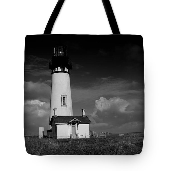 Oregon Lighthouse In Black And White Tote Bag
