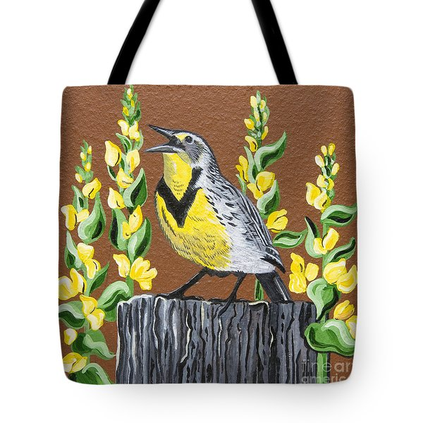 Tote Bag featuring the painting Oregon Meadowlark by Jennifer Lake
