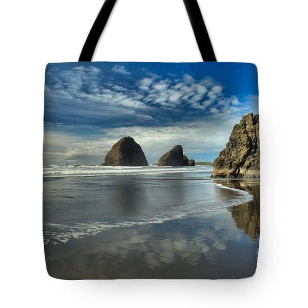 Oregon Sea Stack Surf Tote Bag by Adam Jewell