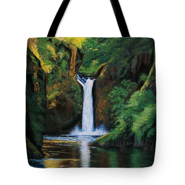 Oregon's Punchbowl Waterfalls Tote Bag