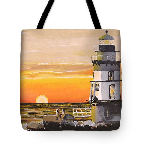 Tote Bag featuring the painting Orient Point Lighthouse by Donna Blossom