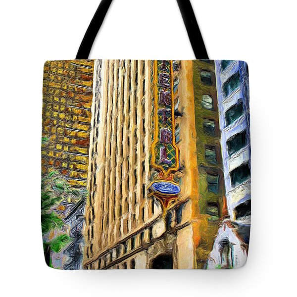 Oriental Theater Of Chicago Tote Bag by Ely Arsha